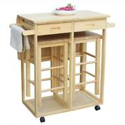 Durable 3 Pcs Rolling Wood Kitchen Island Trolley Cart Storage Drawers Stand