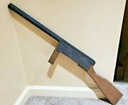 Vintage All Wooden Rifle Gun Novelty Toy Gun Carved Wood With Peg