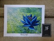 Christopher Rush Black Lotus Print 8.5 Andtimes 11 Inches Comes With Coa.