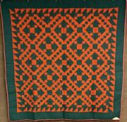 Red Green C 1900 Jacobs Ladder Quilt Antique Note Anna Mary Balmer