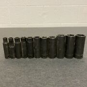 Snap On Tools 11 Piece 1/2 Drive 6 Point Deep Impact Sockets Sae 3/8 - 1