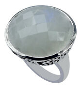 Blue Rainbow Moonstone Gemstone 10k White Gold Ring | A Precious Gift For Her