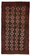 Semi-antique Red And Black Persian Fine Bukhara Oriental Runner 3and039 X 5and039