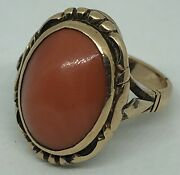 Antique French 18ct Gold Orange Coral Ring. C1910