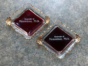 Ashtray Souvenir Of Menominee, Michigan Ruby Glass Gold Accents Pair Vintage