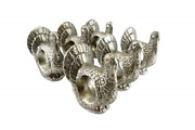 Party Explosions Thanksgiving Turkey Silver-colored Clay Napkin Rings - Set Of 6