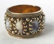 Vintage 14k Gold Carved Shell Mop Cameo Wide Eternity Cigar Band Ring Heavy10.5g