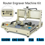 1500w Vfd 4 Axis Usb Cnc 6090z Router Engraver Drill 3d Carving Cutting Machine