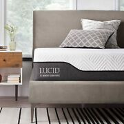 Lucid 10 Inch Full Hybrid Mattress - Bamboo Charcoal And Aloe Vera Infused Memor