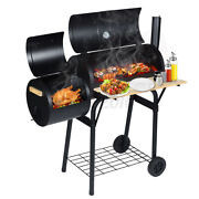 45and039and039 Outdoor Charcoal Pit Meat Cooker Smoker Bbq Grill W/ Oil Catcher And Wheels