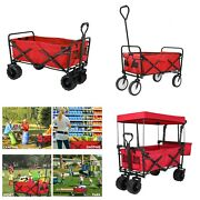 Red Collapsible Utility Wagon Beach Cart Folding Camping Grocery Trolley Cart Us