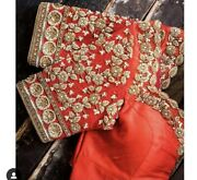 Orange Maggam Blouse With Antique Gold Zardozi Work On Sleeves And Necklineandnbsp
