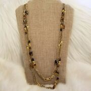 Flapper Style Glass Necklace Gold Tone Extra Long Chain Link 3224