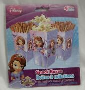 Disney Sofia The First Princess Party Supplies Set Of 4 Treat/snack Boxes-new