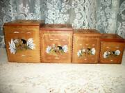 Vintage Wood Rooster Canisters Hp French Farmhouse Gold White Black Nested
