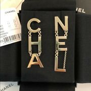 Authentic W Receipt💕 Cha-nel Logo Letter Drop Earrings 2020 Sold Out