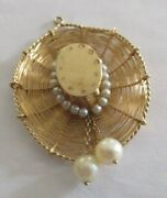 Vintage 14k Gold Mexican Hat Pendant With Pearls 6.40 Grams 2 By 1.50