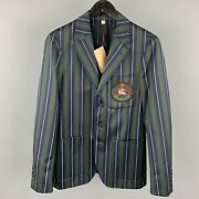 Size Us 36 / It 46 Green And Navy Stripe Wool / Cotton Notch Lapel Suit
