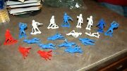 Vintage Toy Lot 19 Marx Mpc Plastic Play Set Firefighter Action Figures 2 1/2