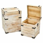 Decorative Storage Boxes With Metal Detail Set Of 2