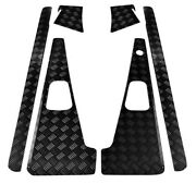 Defender 90 Set Wings With Lh Aerial Hole Corners -sills 2mm Chequer Plate Black