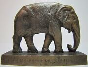 1924 Phosphor Bronze Smelting Co Elephant Old Advertising Paperweight Display