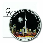2011 Palau 5 Dollars World Of Wonders Canadian National Tower Colored Silver