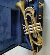 Matt Gold Flumpet C Trumpet Monel For Professional With Leather Case
