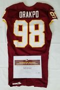 98 Brian Orakpo Of Redskins Nfl Game Worn And Unwashed Jersey Vs. Eagles Wcoa
