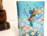 Antique Enameled Religious Drinking Glass French Water Spa Tankard Collectible