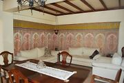 Moroccan Antique Handmade Lined Silk Wall Hanging Tapestry Haiti. 17 Ft Long