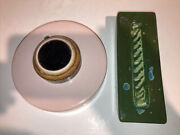 Vintage Large Waylande Gregory Pottery Cracked Green Glass Blotter And Inkwell