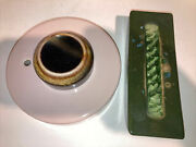 Vintage Large Waylande Gregory Pottery Cracked Green Glass Blotter And Inkwell .