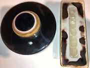 Vintage Large Waylande Gregory Pottery Cracked Glass Blotter And Inkwell 6andrdquo
