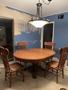 Antique Claw Foot Tiger Oak Dining Table  Round Oval Original One Broken Chair
