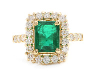 4.10ct Natural Emerald And Diamond 18k Solid Yellow Gold Ring