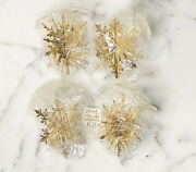 Vintage Brass Snowflakes Christmas Holiday Ornaments Set 4 3-d