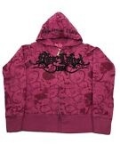 Blac Label Pink Womenandrsquos Xs Hoodie All Over Print Skulls Guns Strippers. Euc