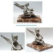 Stunning Old French Bronze Silver Plated Winged Goddess With Lyre Car Mascot