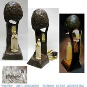 Lovely Antique Art Nouveau Our Lady Of Lourdes Virgin Mary Lamp Signed Paysan