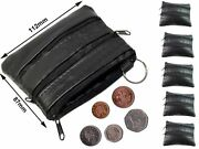New Mens And Ladies | Small Soft Real Leather Coin Purse - Key Wallet | Four Zips