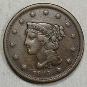 1841 Braided Hair Large Cent Fine+ Better Date Decent Early Type Coin 0120-01