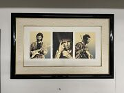 Signed Ronnie Wood Litho Eric Keith And Jimi. Each Litho Is 8.5x10.75 Frame 41x26