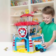 Paw Patrol Dino Rescue Lookout Headquarters Hq Playset Sounds Transforms W/ Rex