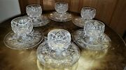 6super Rare American Brilliant Cut Glass Footed Sherbet Dessert And Saucers Signed