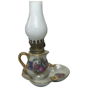 Vintage Beautiful French 20th Century Porcelain Oil Lamp Wick Light