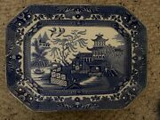 1920s Burgess And Leigh Burleigh Ware Willow Pattern Tray England [203]
