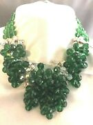 Vintage French Glass Cluster Bead Green And Crystal Glorious Drippy Necklace