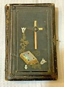 Antique 1890 German Lutheran Holy Bible Gilded With Pearls Printed In Germany