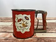 Vintage Androck Hand-i-sift 3 Screen Flour Sifter Red Floral